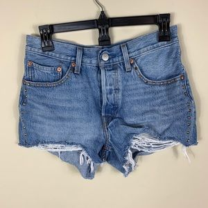 Levi 501 embellished distressed shorts